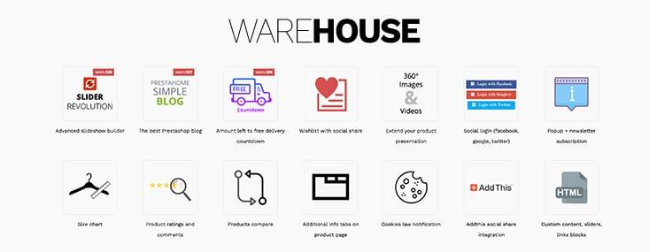 Acheter le template Warehouse pour Prestashop