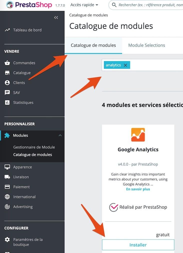 Installer le module officiel Prestashop pour Google analytics