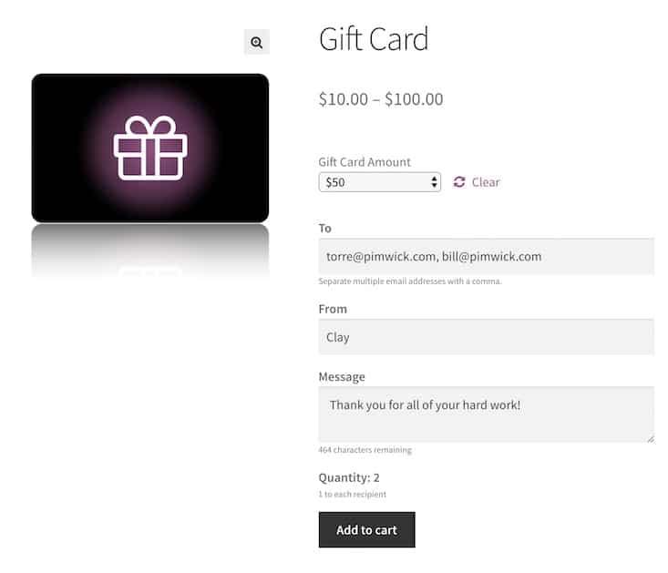 affichage d'une fiche produit carte cadeaux sur Woocommerce
