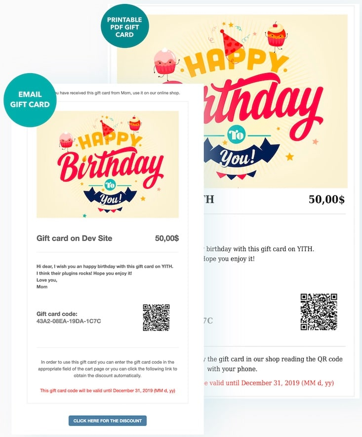 Email personnaliser yith Woocommerce Gift Cards