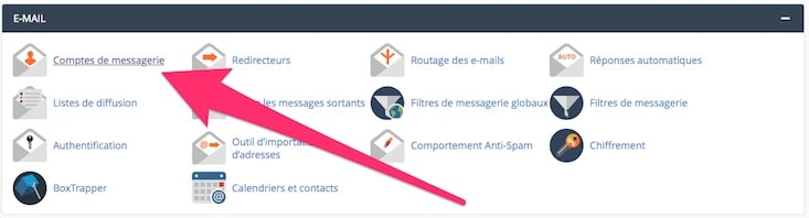 accès compte email sur O2switch