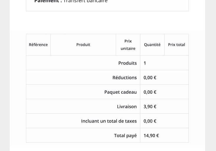 Mail de confirmation de commande sans la liste produit dans Prestashop